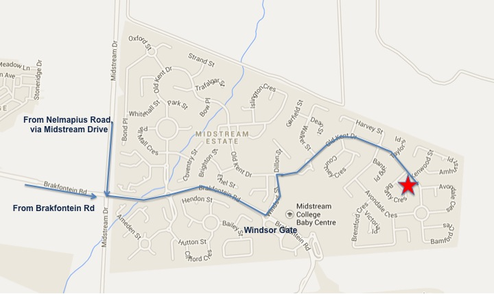 Map and route description to Educational Psychology practice in Midstream Estate, Centurion, Midrand